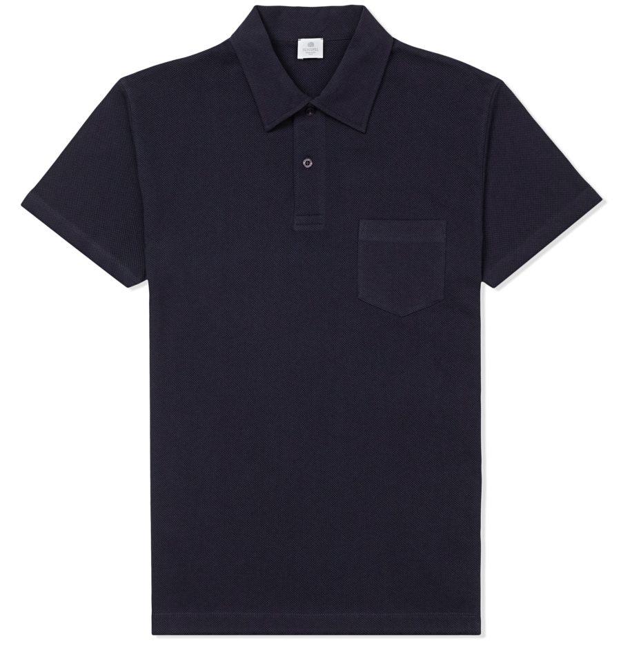flat black polo shirt men