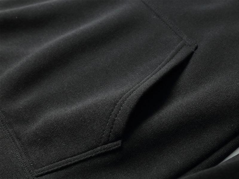 Black Cotton Fleece Hoodies Pullover / Zipper