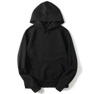 Black Cotton Fleece Hoodies Pullover / Zipper 1