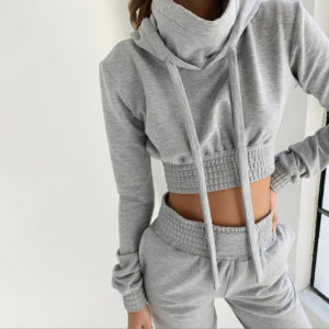 Women Fleece Tracksuit Cropped Hoodie and Pant 1