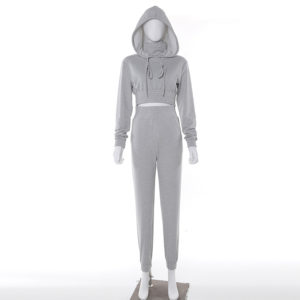 Women Fleece Tracksuit Cropped Hoodie and Pant 3