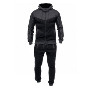 Men Fashion Gym Fleece Grey and Black Tracksuit 1