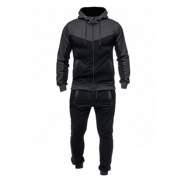 Men Fashion Gym Fleece Grey and Black Tracksuit 5