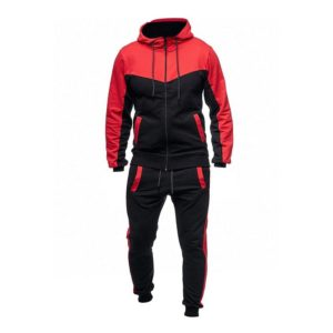 Men Fashion Gym Fleece Red and Black Tracksuit 1