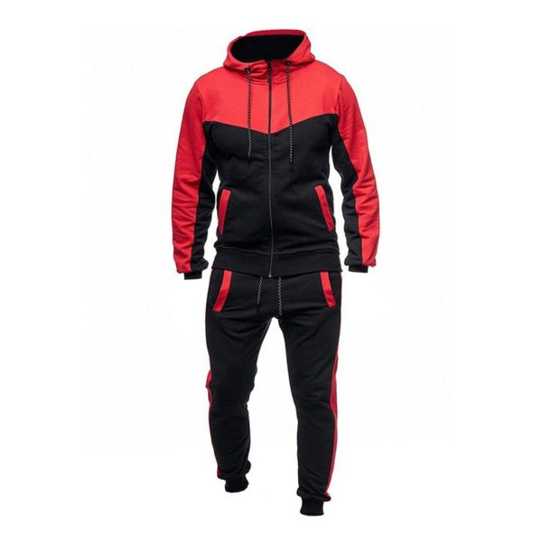 Men Fashion Gym Fleece Red and Black Tracksuit 6