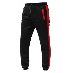 Men Fashion Gym Fleece Red and Black Tracksuit 4