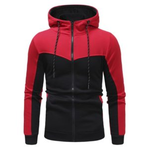 Men Fashion Gym Fleece Red and Black Tracksuit 5