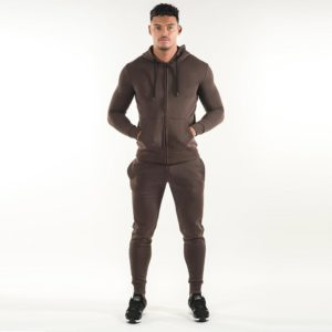 Men Gym Fashion Brown Fleece Tracksuit 1