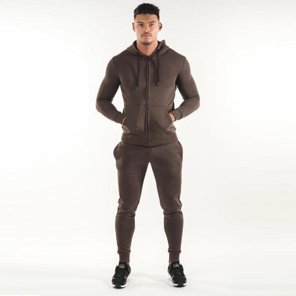Men Gym Fashion Brown Fleece Tracksuit 4