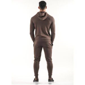 Men Gym Fashion Brown Fleece Tracksuit 3