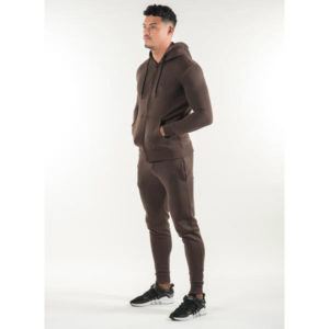 Men Gym Fashion Brown Fleece Tracksuit 2