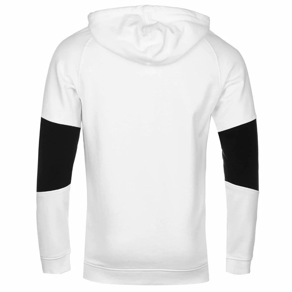 Men White Fleece Hoodie with Black Panel on Sleeves