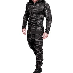 Men Green Camo Slim fit Gym Fleece Tracksuit 5