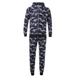 Men Grey Camo Slim fit Gym Fleece Tracksuit 1