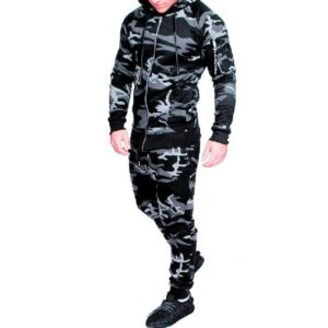 Men Grey Camo Slim fit Gym Fleece Tracksuit 2