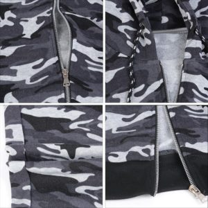 Men Grey Camo Slim fit Gym Fleece Tracksuit 5
