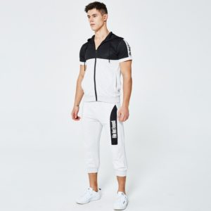 Men fashion slim fit polyester tracksuit white and black 1