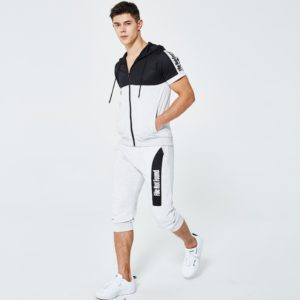 Men fashion slim fit polyester tracksuit white and black 2