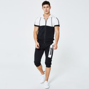 Men fashion slim fit polyester tracksuit white and black 8