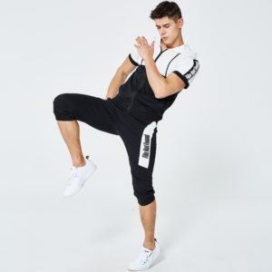 Men fashion slim fit polyester tracksuit white and black 7