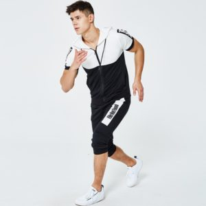 Men fashion slim fit polyester tracksuit white and black 6