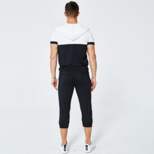Men fashion slim fit polyester tracksuit white and black 5
