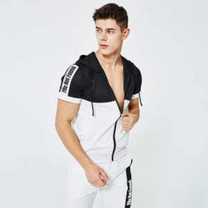 Men fashion slim fit polyester tracksuit white and black 4