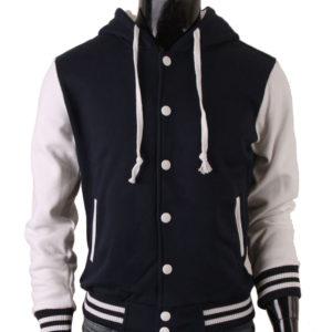 Men's Hoodie Baseball Jacket Navy Varsity Letterman Jacket 1