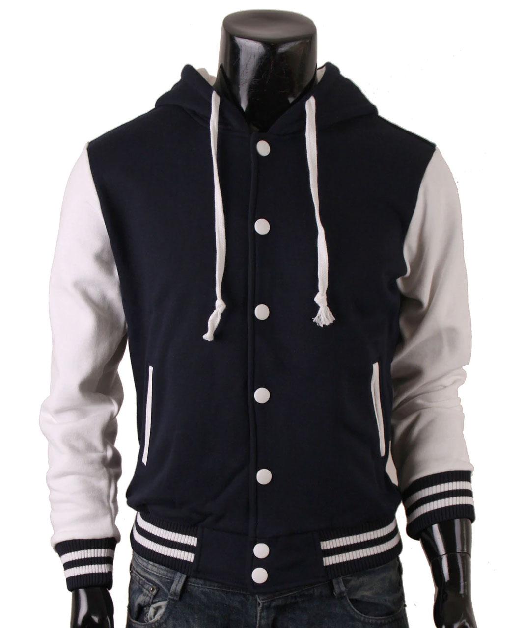 Men's Hoodie Baseball Jacket Navy Varsity Letterman Jacket