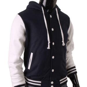 Men's Hoodie Baseball Jacket Navy Varsity Letterman Jacket 3