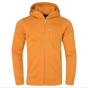 Yellow Men Cotton Fleece Hoodie Zipper 1