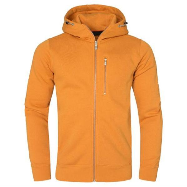 Yellow Men Cotton Fleece Hoodie Zipper 7