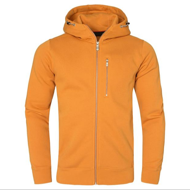 Yellow Men Cotton Fleece Hoodie Zipper