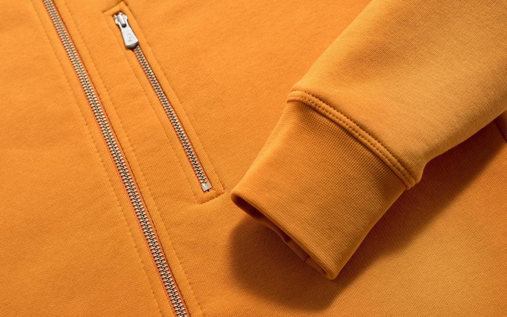 Yellow Men Cotton Fleece Hoodie Zipper