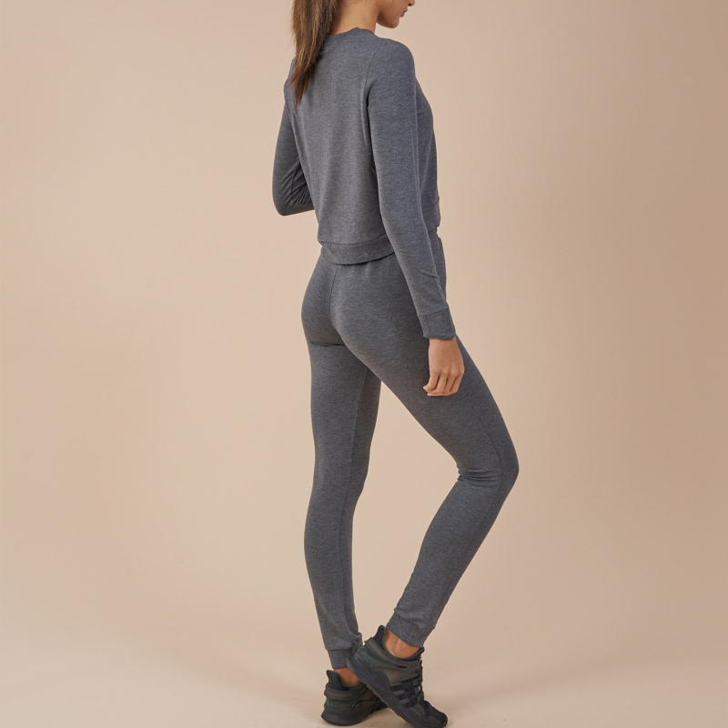 Ladies Crop Top Tracksuit Set Gym Sweatsuit