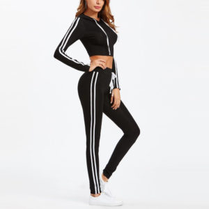 Women Gym Tracksuit Cropped Hoodie and Skinny Pant 2