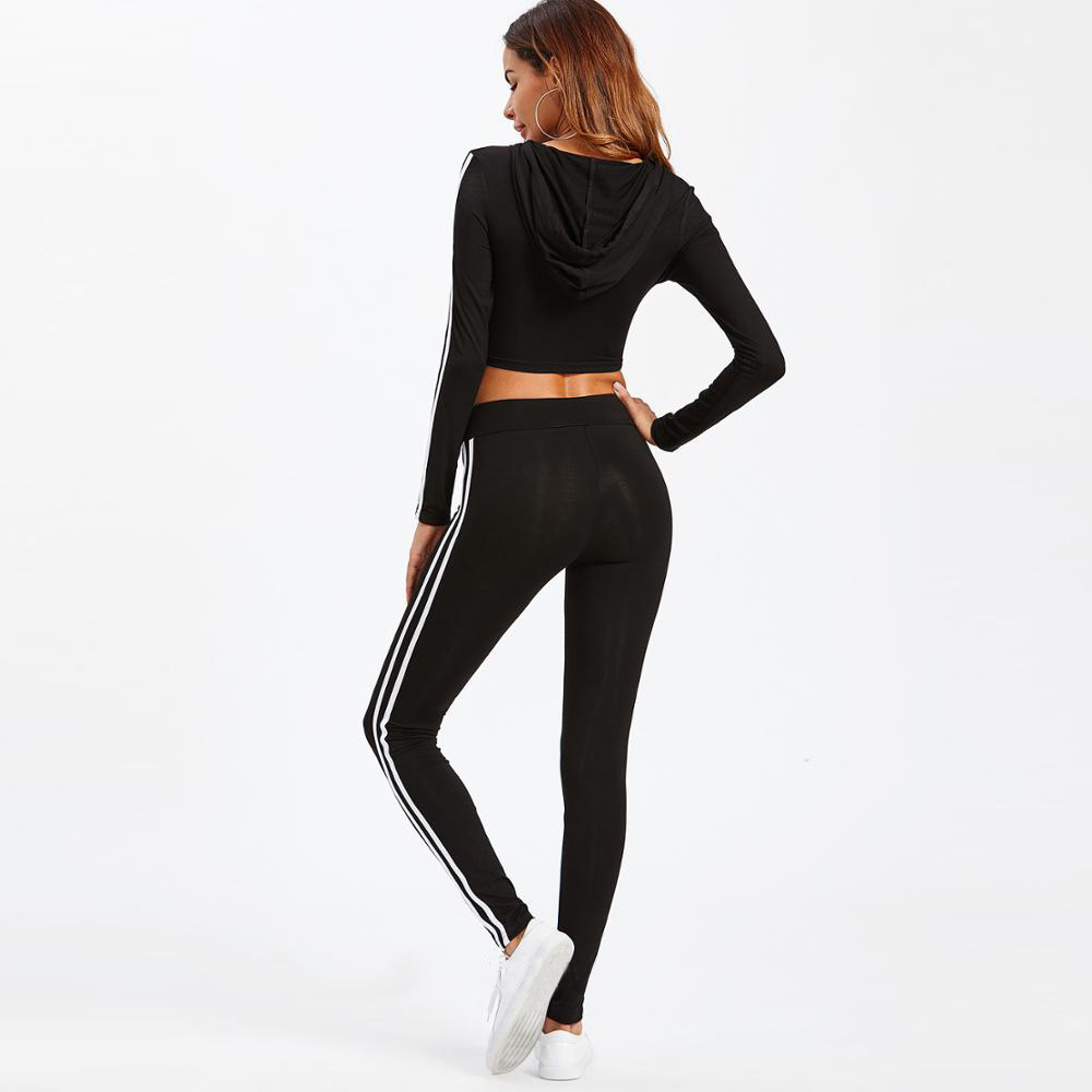 Women Gym Tracksuit Cropped Hoodie and Skinny Pant