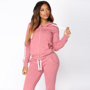 High Quality Women Fleece Tracksuit Zipper Hoodie and Long Pant 2