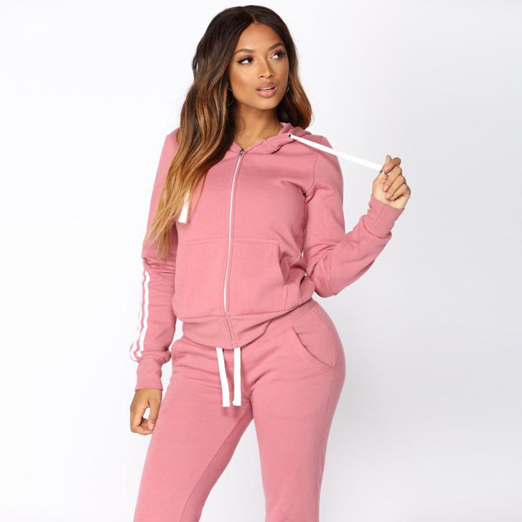 High Quality Women Fleece Tracksuit Zipper Hoodie and Long Pant