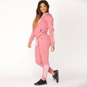 High Quality Women Fleece Tracksuit Zipper Hoodie and Long Pant 5