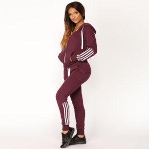 High Quality Women Fleece Tracksuit Zipper Hoodie and Long Pant 3