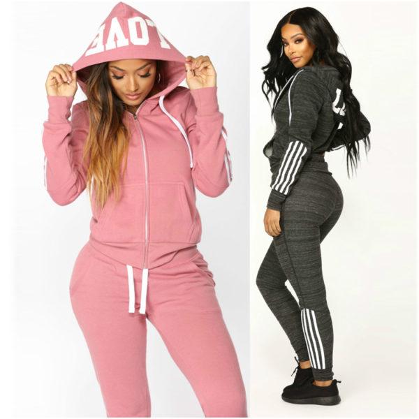 High Quality Women Fleece Tracksuit Zipper Hoodie and Long Pant 7