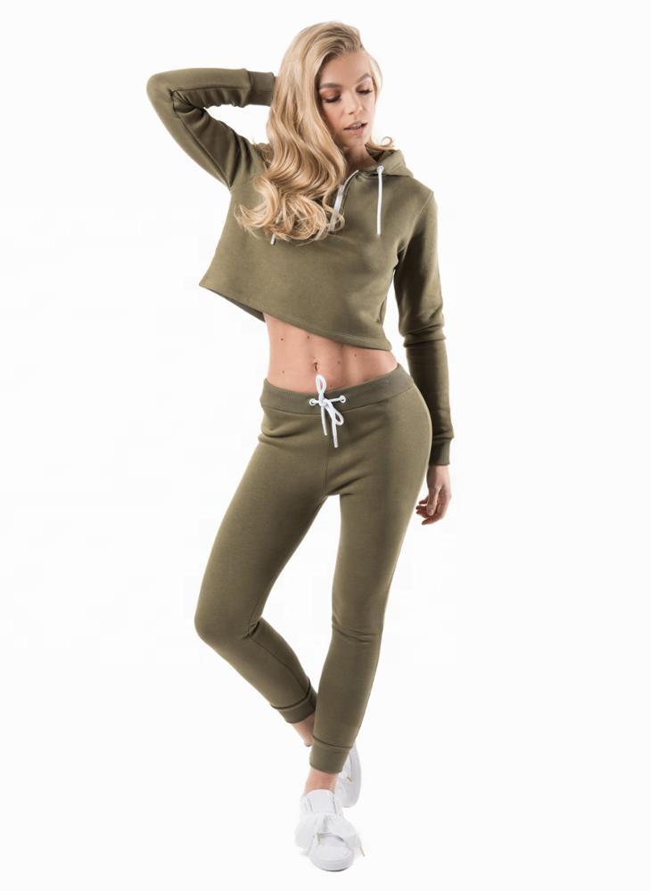 Women Croped Hoodie Fleece Tracksuit Ladies Gym Sports Fleece
