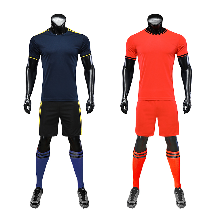 2021 Custom Football Jerseys For Printing Black Orange Soccer Jersey And Red