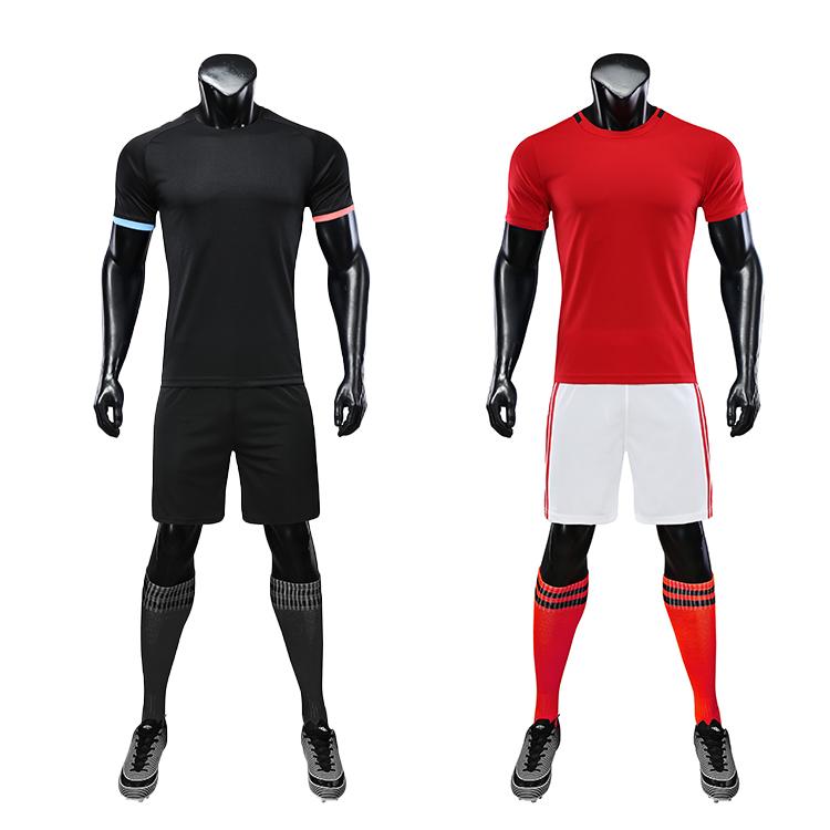 Red Black Soccer Wear With Sublimation Custom Blank Sports Jersey New Model Football Shirt Uniform Set