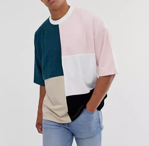 2020 Fashion Custom Casual Splice Patchwork T Shirts For Men