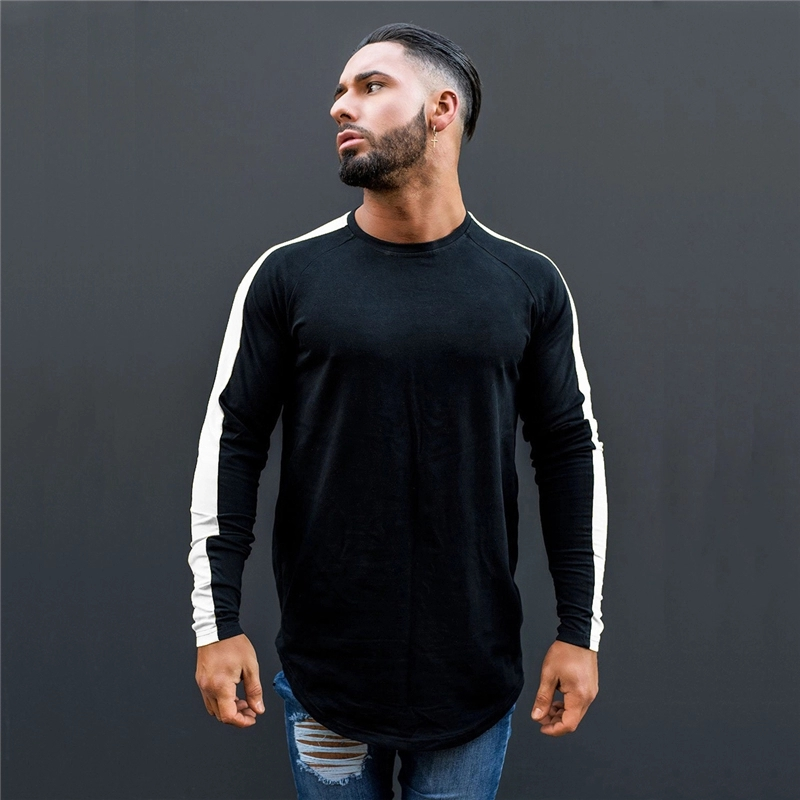 2020 Fashion Sport Cotton Long Sleeve Gym T Shirts For Men