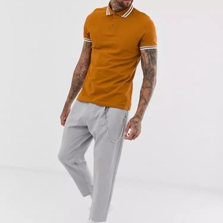 Fashion Man Short Sleeve 100% Cotton Custom Fitness Polo Shirt