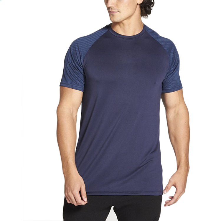 Quick Dry Polyester Spandex Gym T shirt For Men