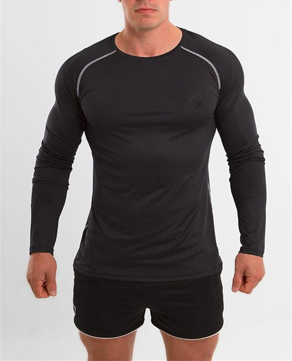 Mens Muscle Fit Workout Apparel Running Long Sleeve Fitness Gym Shirts
